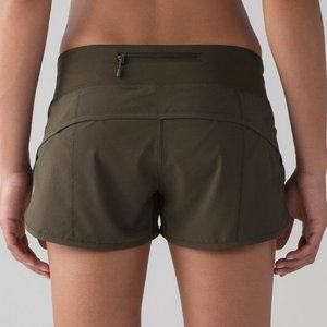 "EUC, Lululemon Speed Up Short Dark Olive, 2.5"", 6"